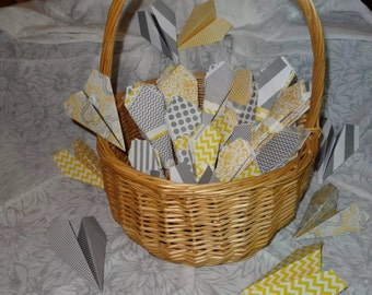 Wedding Yellow and Grey Send-Off Paper Airplanes - NEW - 100ct.