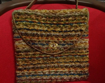 "Vintage 1960's ""JR Florida"" Carpetbag Purse Multicolor, Shoulder Bag 13"" X 13"""