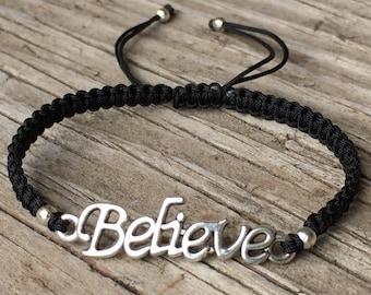 Believe Bracelet, Believe Anklet, Macrame Cord Friendship Bracelet, Word Bracelet, Inspirational Jewelry, Macrame Jewelry, Gift for Her