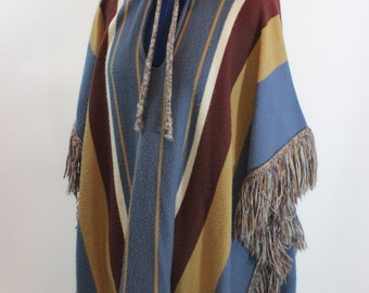Vintage Hooded Sweater Cape with Fringe