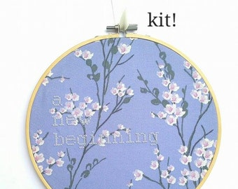 """Purple Cross Stitch KIT """"A New Beginning"""" Embroidery 8"""" hanging mental health charity awareness diy gift bright art wedding gift divorce end"""