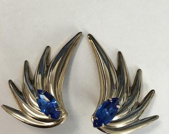Vintage Blue Rhinestone Gold Tone Earrings