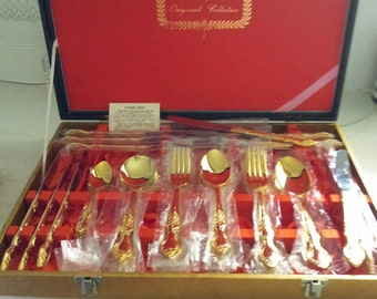 43 pc VINTAGE GOLDPLATED CUTLERY