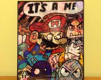 Mario 8x10 mixed media print