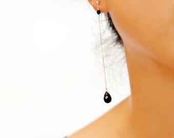 Black Agate Long Drop Earrings, Simple Elegance, Dangling Gemstone Earrings, MC-E1005