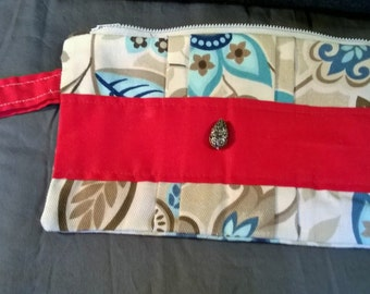 Red and Flower Patterned Wristlet with Zipper