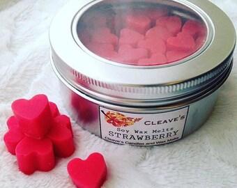 Strawberry Scented Soy Wax Melts (Mini Hearts Tin)