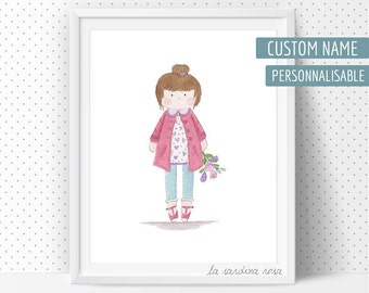 Baby girl wall art, Baby Girl room decor, Watercolor print, Girl room, Nursery wall art, Customizable print, Custom nursery name