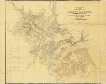 1860 Map of Boston Harbor Massachusetts