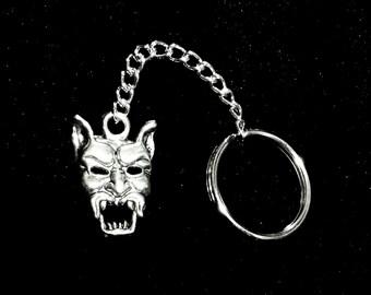 Silver Demon Head/Devil Head Keychain/Silver Key Ring/Accessories/Keychains/Devil Head/Demon Head/Key Accessories/Horror Keychains/Evil
