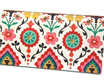 Checkbook Cover - Indian Damask. Bright Colorful Floral. Vinyl Checkbook Cover.