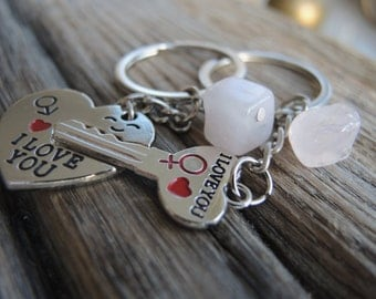 Key to My Heart Keychains 2 pcs.  His and Her Keyrings |