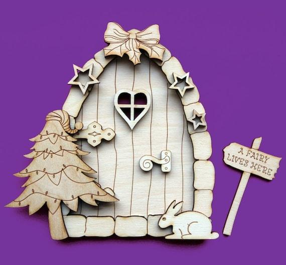 Fairy door christmas 3d elf wooden house blank craft shapes for Fairy door shapes