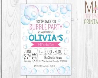 Bubble Theme Invitation 2,Bubble Party, Bubble Party Invitation, Bubble Party Invite, Bubble Birthday, Bubble Invitation, Bubble Party