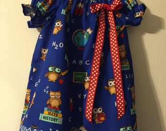 Back to school owl dress size 4T