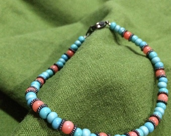 Turquoise and coral glass bracelet