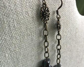 Hematite and brass chain earrings
