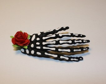 Hand Painted Skeleton Hand Clip
