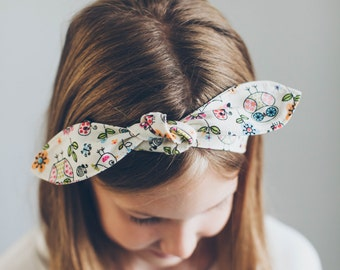 Bird and Owl Print Fabric Tie Headband