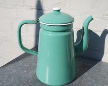 Vintage 50s green enamelled tin coffee pot