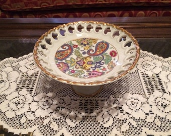 1960s Lefton Paisley Fantazia Pedestal Tidbit Tray, Candy Dish, Pedestal Bowl