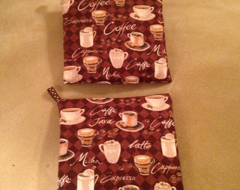 Handmade Potholders-Coffee Design
