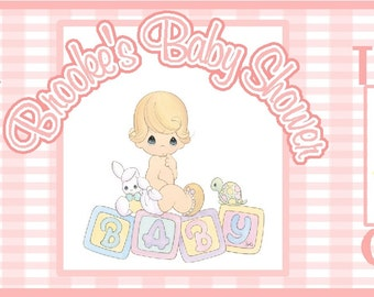 Personalized Baby Shower Bubbles ( Girl - Precious Moments )~  Set of 8~ Includes 0.6-oz.Bubbles, Label, Packaging & Ribbon