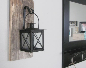 Barnwood Hanging Lantern - Rustic wall decor, hanging light, wall sconce, salvaged wood decor