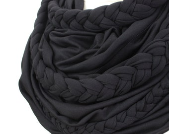 Zopfloop black / / Zopfschal / / braided scarf