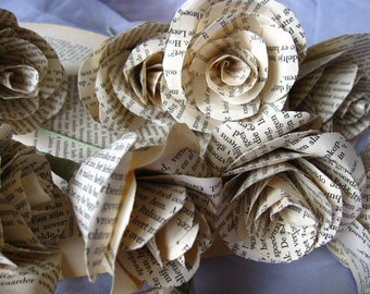 Old Book Pages Roses Vintage Style True Love Story
