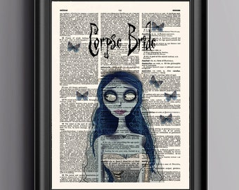 Corpse Bride Print,Tim Burton,Butterflies Art Print,Movie Poster,Book Art,Dictionary Print,Wall Art Print,Wall Decor Print,Dorm Room,073