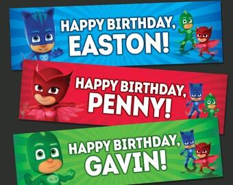 PJ Masks Banner - PJ Masks Birthday Banner - Owlette, Catboy, Gecko