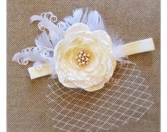 Baby Baptism Headband Shabby Chic  Vintage Christening Headband  Birdcage Veil headband Shabby chic Roses Pearls