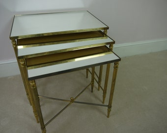 Stunning Hollywood Regency Style Nest of Vintage Brass Mirrored Glass Tables