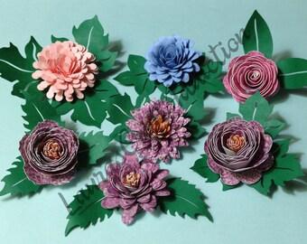 COMMERCIAL LICENSE, Paper Leaves svg, cut file, 8 Designs, Flower Centers, Leaf svg, Silhouette, Cricut, paper flower svg, paper leaf svg