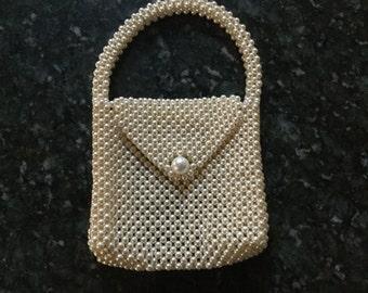 Faux pearl vintage evening bag