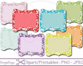 Clipart Scalloped Frames, Labels Set Tag, Clipart Frames, Clip Art set Labels, Frames, Floral Labels, Scrapbook Labels, Digital Clipart
