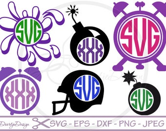 Circle Monogram SVG files for Cricut, DXF files designs for silhouette, svg cutting file, svg files monogram bomb, clock monogram frame