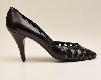 sz 7.5 1980s Shoes 80s Leather Cut Out Shoes Vintage Cage Pumps Shoes Jellies New Wave Punk Jordache Punk Madonna