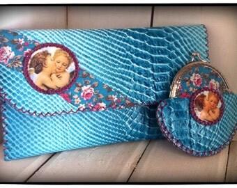 Handmade leather vintage romantic evening blue handbag.