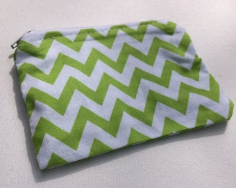 Green Lined Zipper Pouch