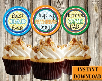 Father's Day Cupcake Toppers, Labels, Party Favors, Printable, Instant Download, PDF, 2.5""