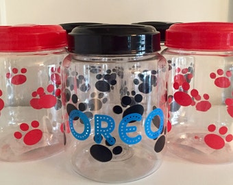 Personalized Paw Print Red, Blue or Pink Pet Treat Canister