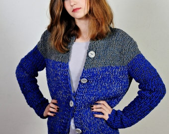 Women's cardigan,   Navy blue sweater,   Comfy sweater,     Sporty sweater,  Original knitwear,  With ceramic buttons,OOAK,  Ready to ship