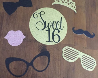 Glittery Sweet 16 Photo Booth Props, 7 Piece Set - Birthday Party, Sweet Sixteen  *ANY COLOR*