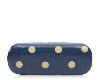 Hard Glasses case- Blue Polka dot- Oilcloth Ladies Reading Glasses case- Oil cloth Womens Glasses holder - Eyeglass Holder - Eyeglasses Case