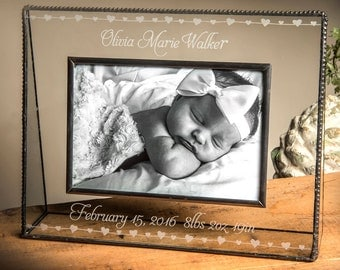 Baby Gift Personalized Glass Picture Frame Engraved Baby Photo Frame for Baby Girl 4x6 Horizontal Picture Frame Baby Hearts EP-508- Pic 319