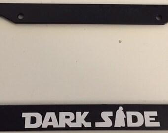 DarkSide with Darth Vader  - Black License Plate Frame -  Love