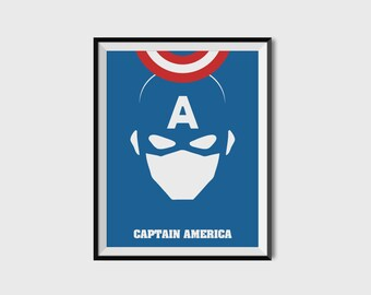 Captain America Print - Minimalist, Marvel Comics, Comic Print, Avengers, Superhero Wall Art