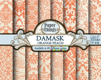 Orange Peach Damask Digital Paper, Orange Peach Floral Paper - White and Orange Patterns for Downloadable Printable Scrapbook Layouts